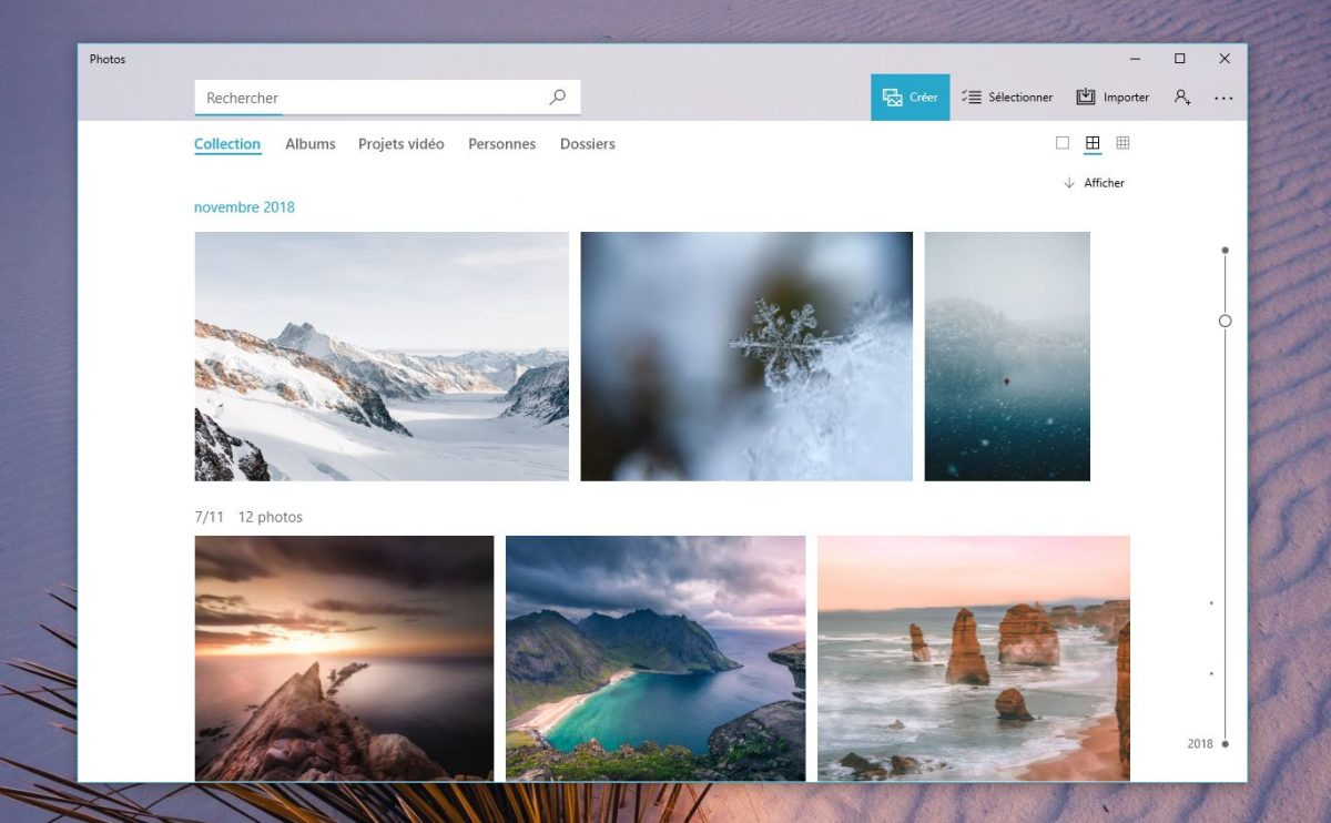 L'app photos de Windows 10