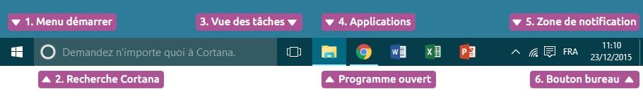 La barre des tâches Windows 10