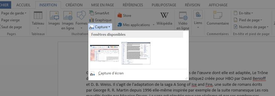 Capture d'écran dans Word