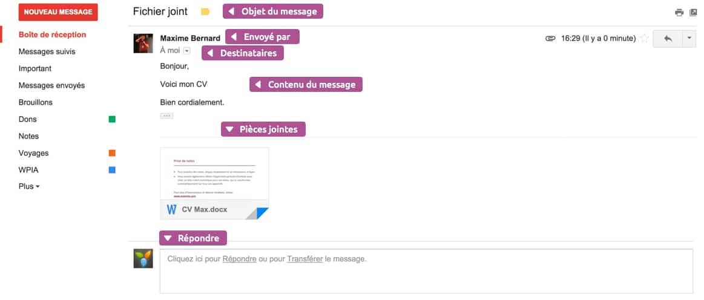 Consulter un mail