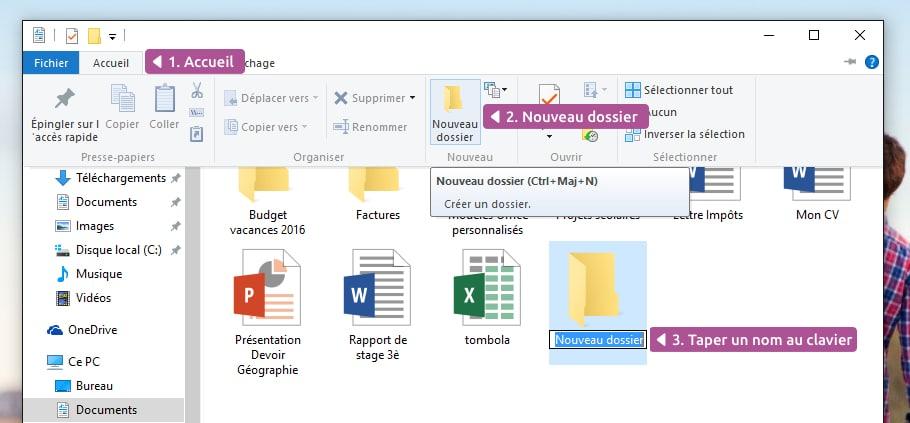 Cr er et supprimer un dossier windows cours informatique - Comment mettre icone sur bureau ...