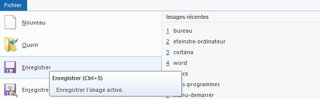 Fichier > enregistrer