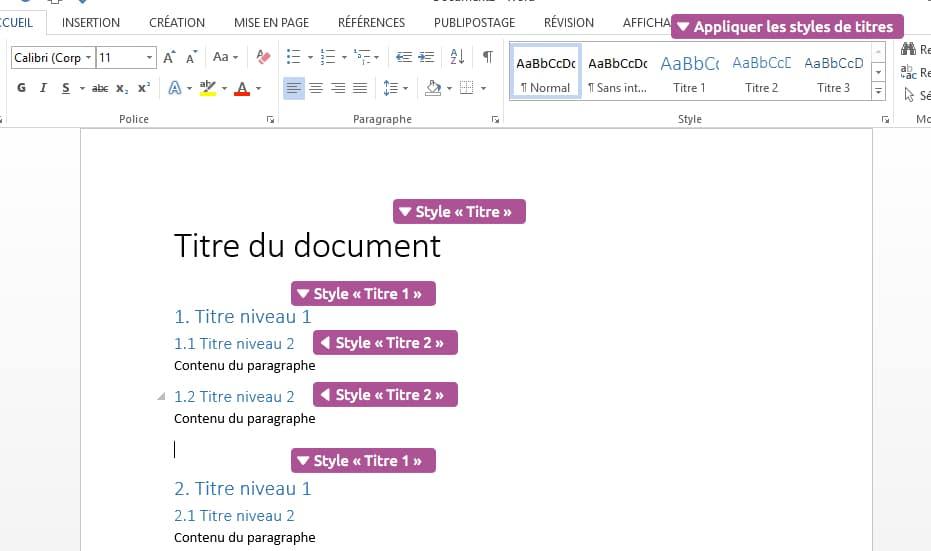 Appliquer des titres pour la hiérarchie du document