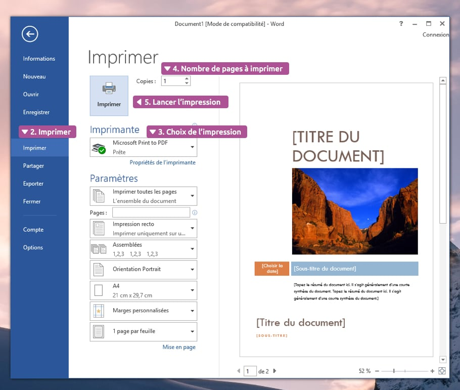 Imprimer un document Word