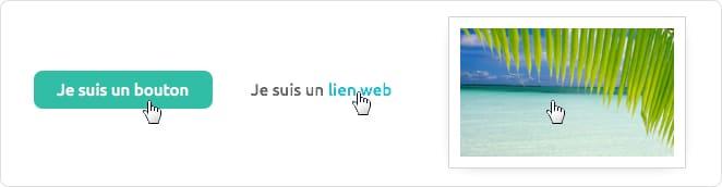Éléments cliquables : lien, bouton, image