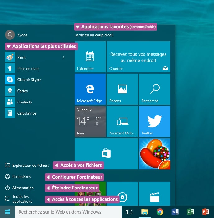 Le menu démarrer Windows 10