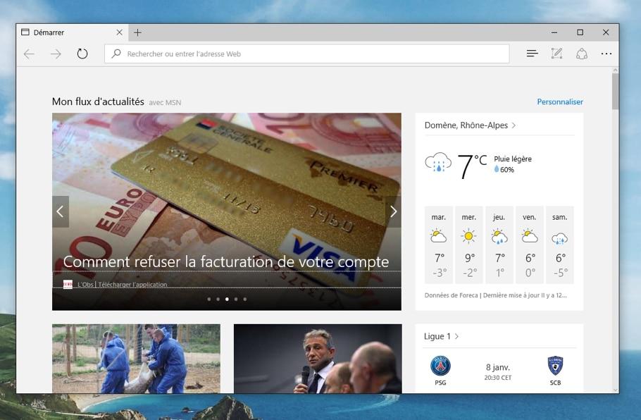 Navigateur Edge / Internet Explorer