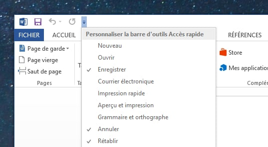 personnaliser barre d'outils office