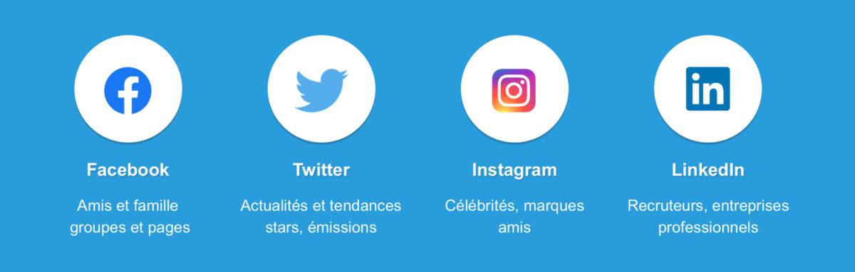 Principaux réseaux sociaux : Twitter, Facebook, Instagram, Linked In