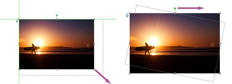 Redimensionner et rotation d'image