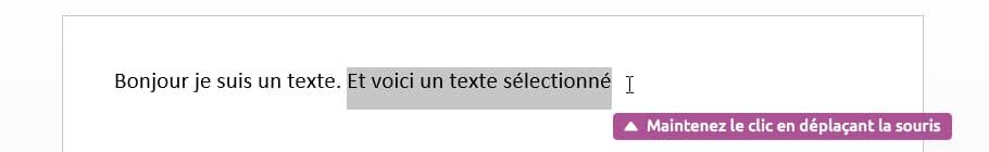 Sélection d'un texte à l'aide du curseur
