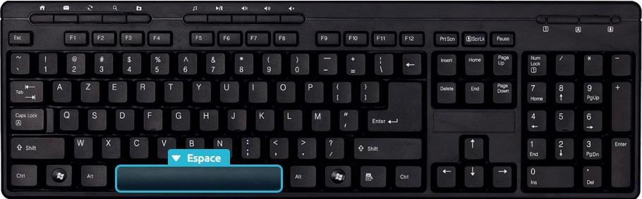 La touche espace du clavier