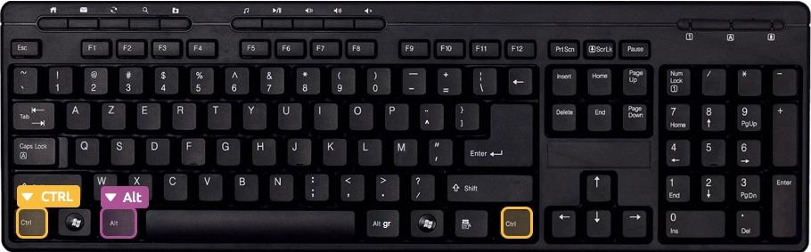 Les touches Ctrl et Alt permettent de faire des raccourcis clavier