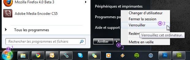 Verrouiller ordinateur et session utilisateur windows 7