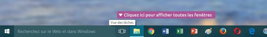 La vue des tâches Windows