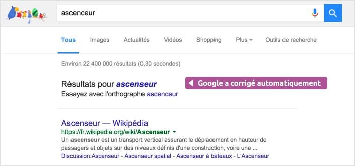 Google corrige automatiquement votre recherche
