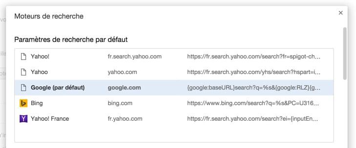 Configurer le moteur de recherche par défaut