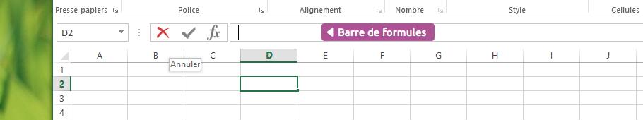 Barre de formule Excel