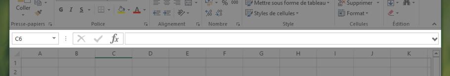 La barre de formules permet d'effectuer des calculs