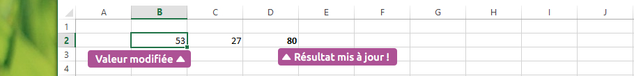 Calcul dynamique Excel