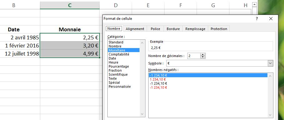 Format des nombres et dates dans Excel