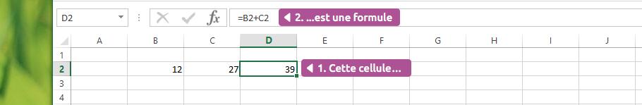 La cellule contient une formule