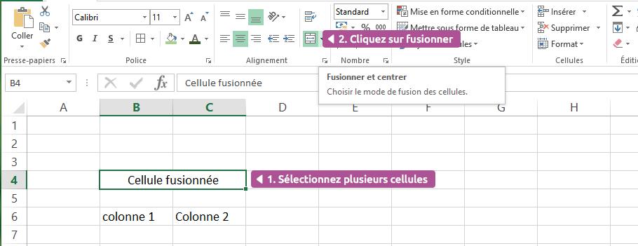 fusion de cellules dans Excel