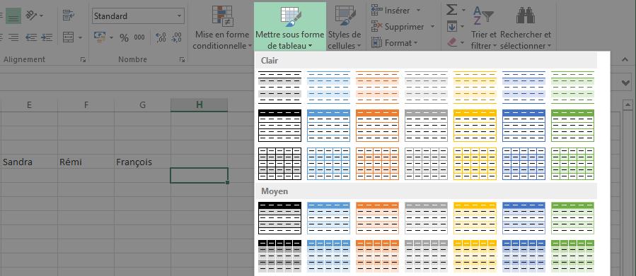 Mise en forme automatique d'un tableau Excel