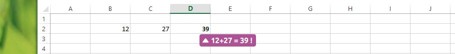 Résultat du calcul Excel