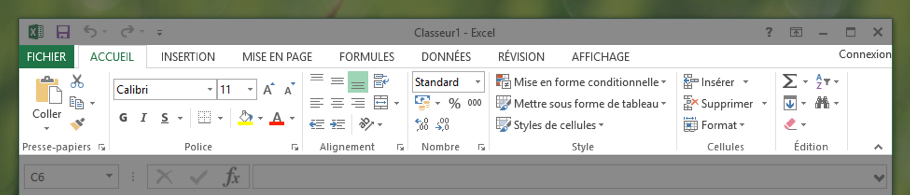 Le ruban Excel