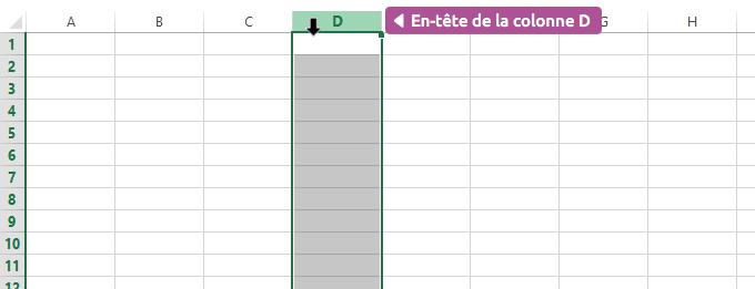 Sélection d'une ligne / colonne Excel