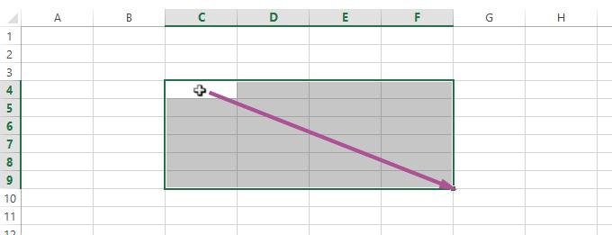 Sélection d'une plage de cellules Excel