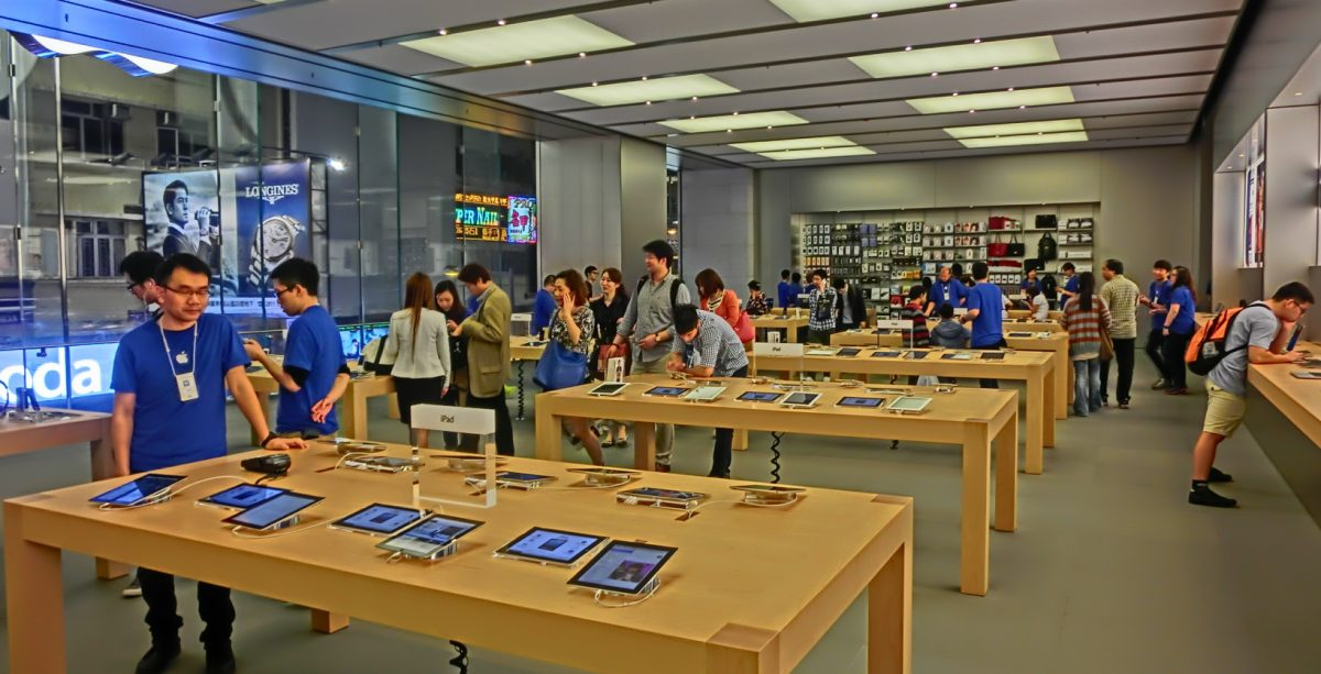 Le rayon tablettes d'un Apple Store