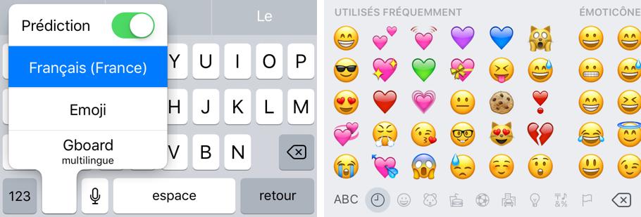 Basculer sur les autres claviers, comme celui des emojis