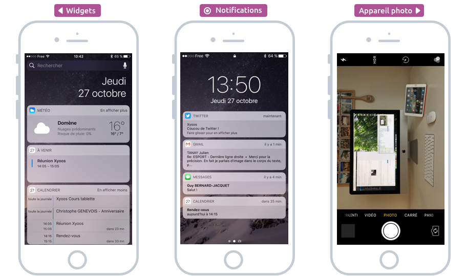 A gauche : les widgets, au centre, les notifications et à droite, l'appareil photo