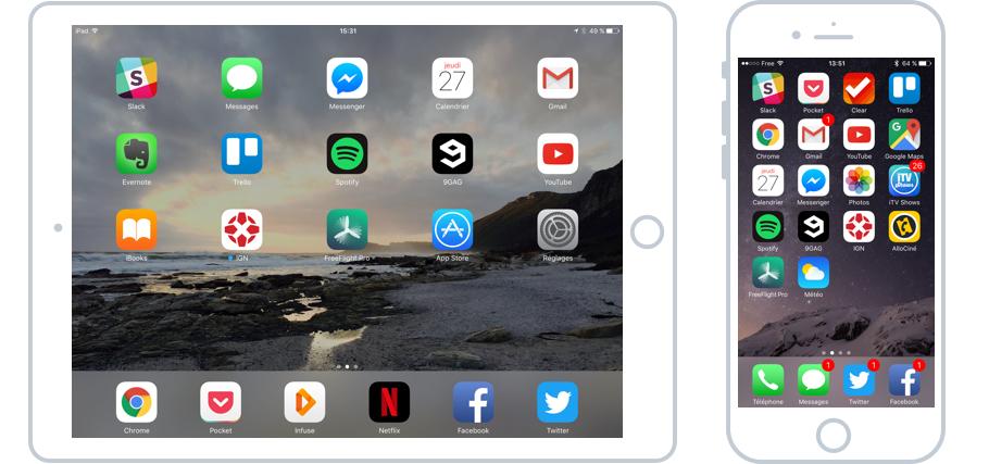 iOS équipe les iPad et les iPhones