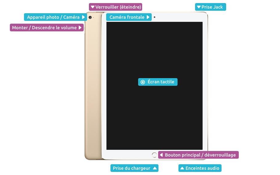 Les boutons et éléments principaux de l'iPad