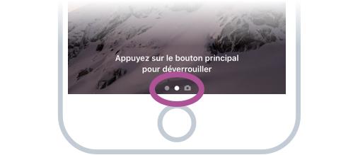 On retrouve 3 indicateurs en bas de l'écran, indiquant que d'autres écrans sont accessibles sur les côtés