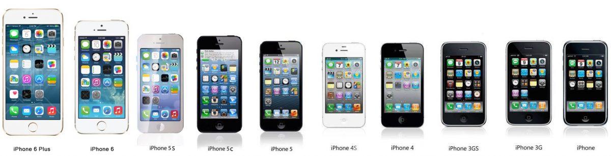 Les différents iPhone au fil des âges. Le plus ancien à droite