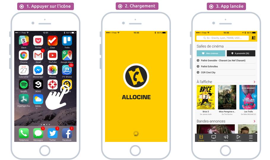 Une brève pression sur l'icône de l'app permet de la lancer