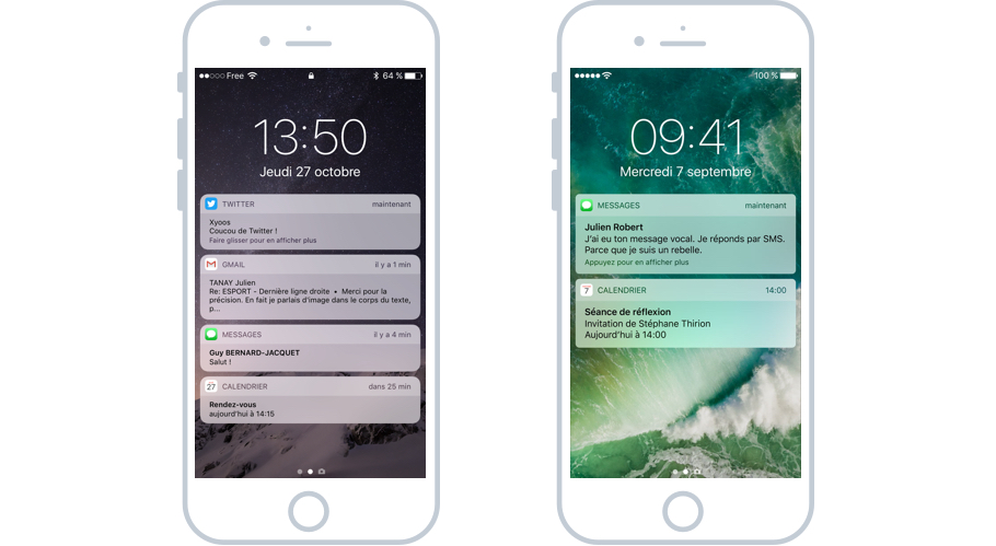 Les notifications iOS à propos de messages, appels en absence et rappel de réunion