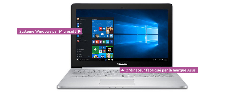 Un ordinateur portable équipé de Windows et construit par Asus
