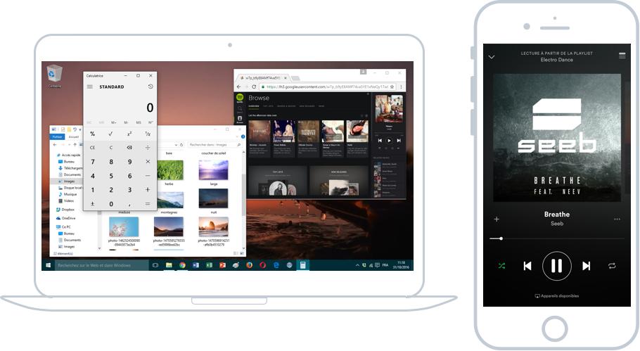 A gauche : Windows et ses fenêtres, à droite iOS et son plein écran