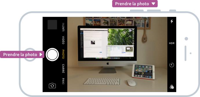 Visez, puis prenez la photo à l'aide du bouton physique sur la tranche ou via le rond blanc sur l'écran