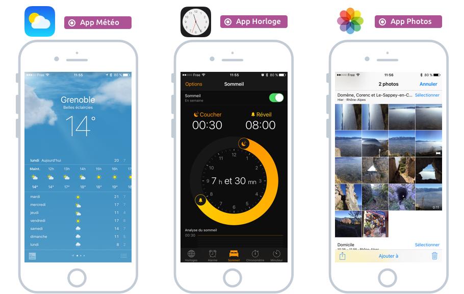 Météo, Horloge, Photos sont 3 apps installées par défaut