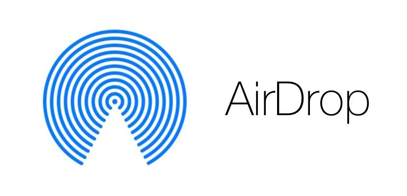 Le logo AirDrop, une technologie Apple pour échanger des fichiers et photos