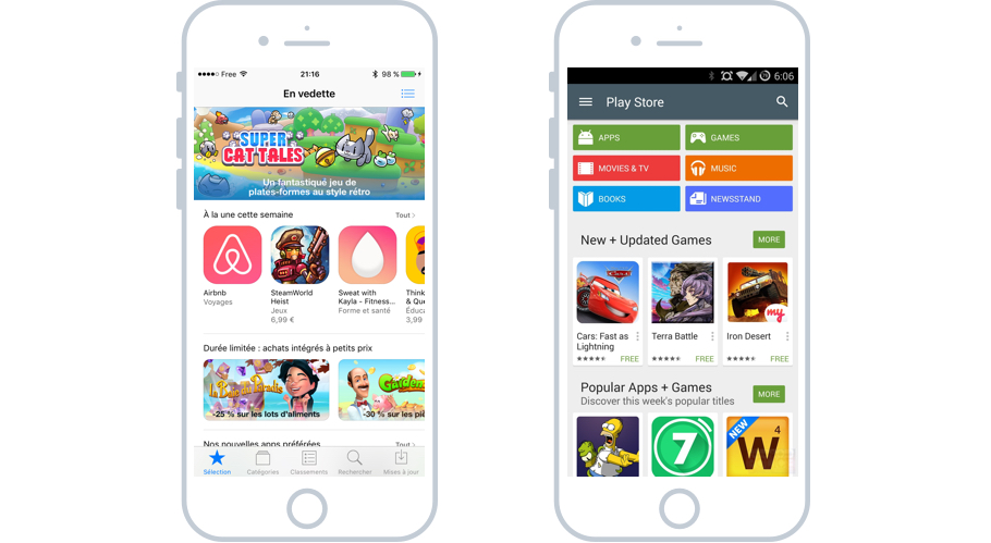 L'App Store d'Apple et le Google Play d'Android : les boutiques d'apps pour les systèmes iOS et Android