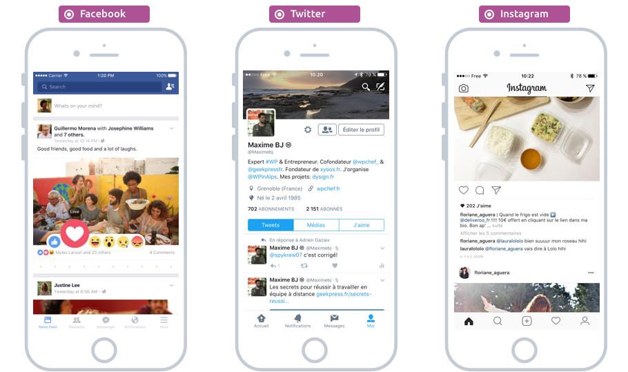 Les apps iOS de réseaux sociaux : Facebook, Twitter, Instagram