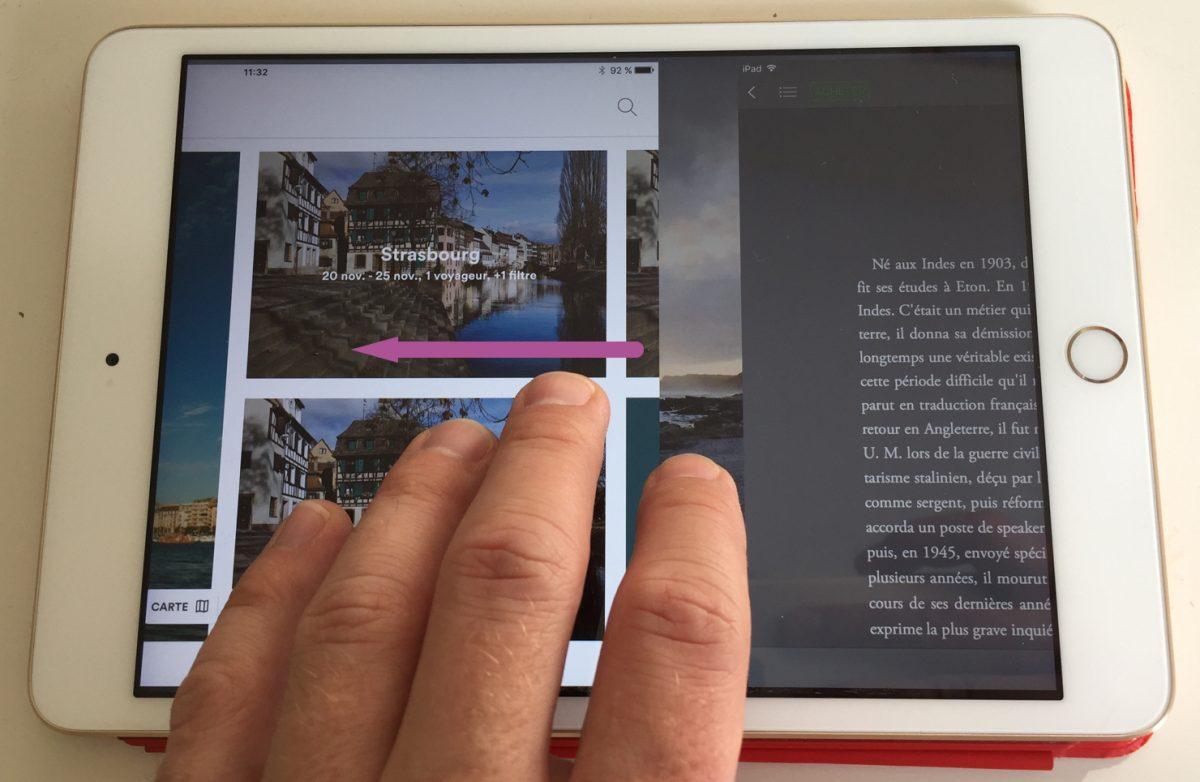 Sur iPad, faire défiler avec 4 doigts permet de changer rapidement d'app