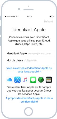 Création d'un compte iCloud à l'installation de l'iPhone